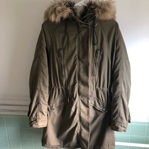 free people xs fur lined military parka